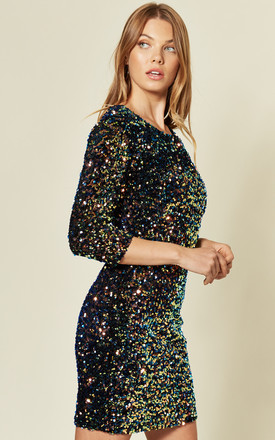 3/4 Sleeve Sequin Mini Dress in Multicolour by MISSI LONDON
