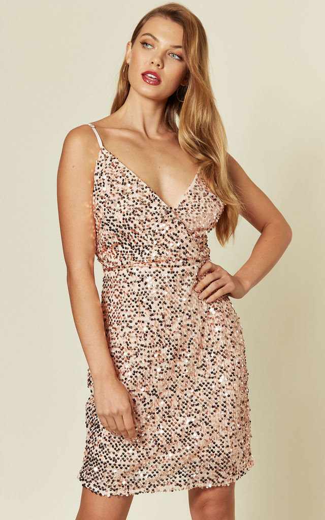 Strappy Sequin Mini Dress in Rose Gold by MISSI LONDON