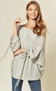 Ruched Sleeve Soft Feel Oversize Top in grey by Suzy D