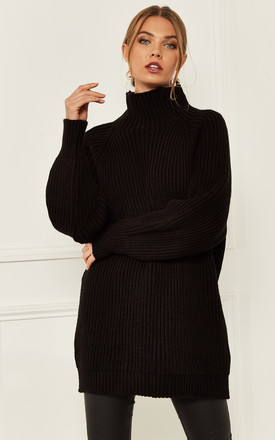 Knitted High Neck Ribbed Jumper In Black by Bella and Blue Product photo