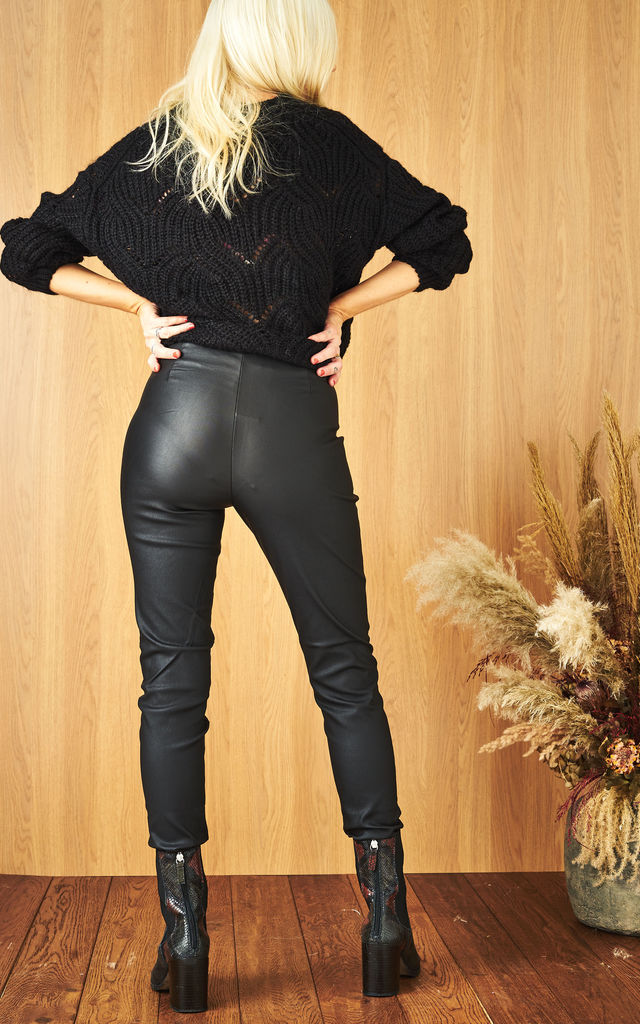 Coated Leggings with High Waist in Black by Pieces