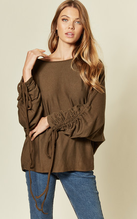 Ruched Sleeve Soft Feel Oversize Top in khaki by Suzy D