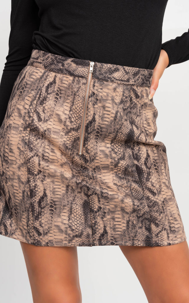 Mini Skirt in Snake Print by Miss Attire