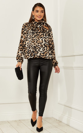 Pussy Bow Blouse In Large Leopard Print by Bella and Blue Product photo