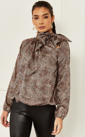 Pussy Bow Blouse In Small Leopard Print by Bella and Blue Product photo