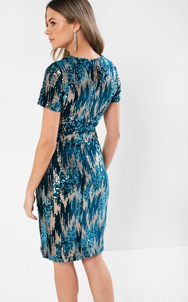 Aine Sequin Dress in Teal by Marc Angelo