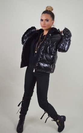 'Onyx' Wet Look Puffer Coat in Black by Storm Label