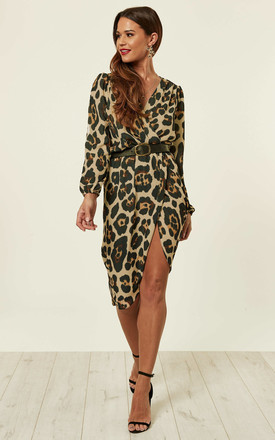 Leopard Print Long Sleeve Wrap Dress In Caramel by Love Product photo