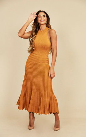 High Neck Pleated Metallic Dress In Gold by CY Boutique Product photo