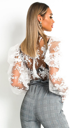 Helena Embroidered Lace Blouse in White by IKRUSH