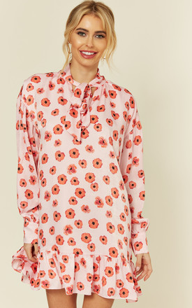 Long Sleeve Poppy Print Tunic Dress by Glamorous Product photo