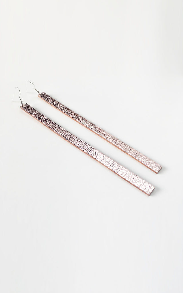 Long Mirror Drop Earrings Pink by Isabel Wong