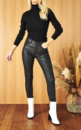 Coated Trousers with Mid Waist in Black by Pieces