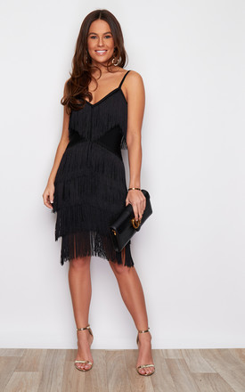 Natasha Layered Tassel Mini Dress Black by Girl In Mind