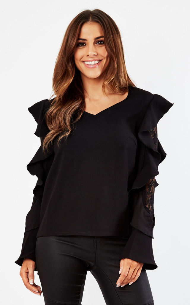 Black Top With Oversized Ruffle Sleeves by Lilura London