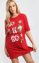 Evie Christmas Baggy Ho Ho Ho Pudding Oversized T Shirt Dress In Red by Oops Fashion