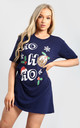 Evie Christmas Baggy Ho Ho Ho Pudding Oversized T Shirt Dress In Navy by Oops Fashion