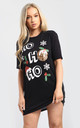 Evie Christmas Baggy Ho Ho Ho Pudding Oversized T Shirt Dress In Black by Oops Fashion
