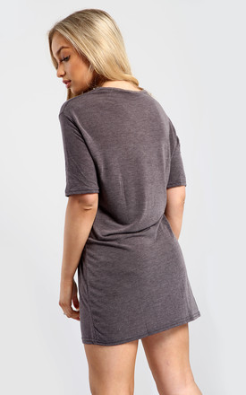 Evie Christmas Baggy Ho Ho Ho Pudding Oversized T Shirt Dress In Charcoal by Oops Fashion