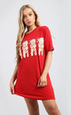 Evie Gingerbread Print T-Shirt In Red by Oops Fashion