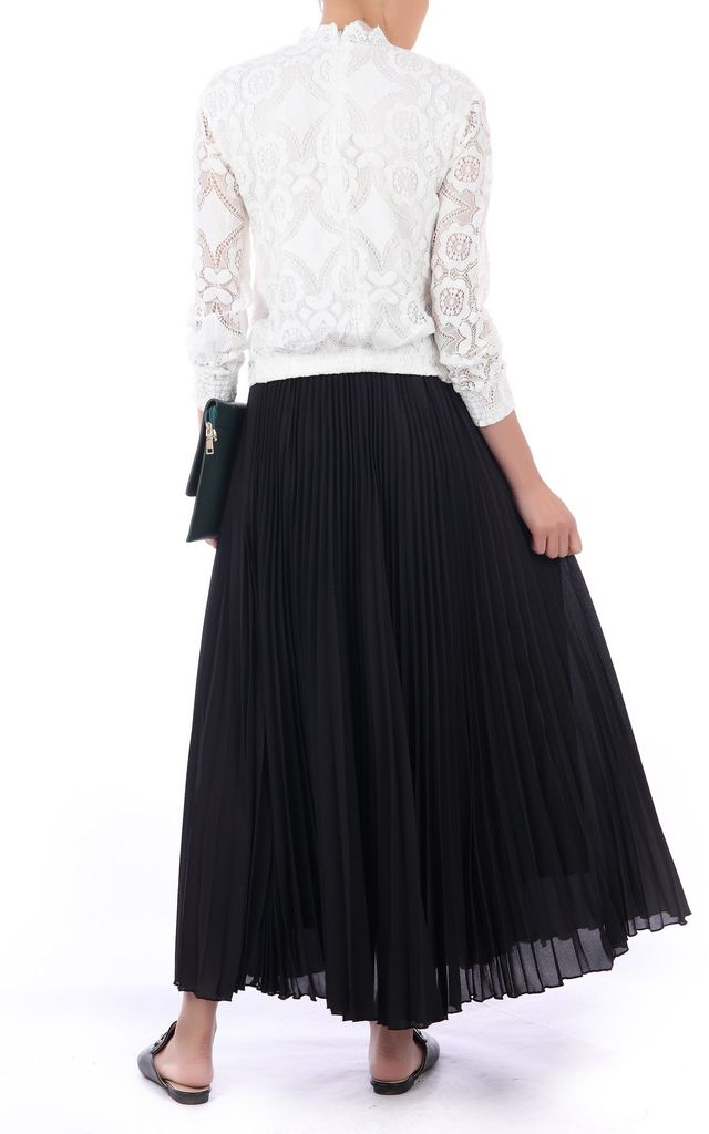 Crepe Pleated Maxi Skirt in Black by JOLIE MOI