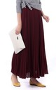 Crepe Pleated Maxi Skirt in Burgundy by JOLIE MOI