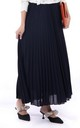 Crepe Pleated Maxi Skirt in Navy by JOLIE MOI
