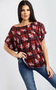 Eliza Christmas Batwing Top In Tartan Reindeer In Red by Oops Fashion