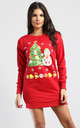 Long Sleeve Christmas Tree And Snowman Sweatshirt Mini Dress In Red by Oops Fashion