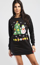 Long Sleeve Christmas Tree And Snowman Sweatshirt Mini Dress In Black by Oops Fashion