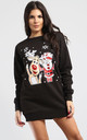 Matilda Waving Christmas Santa & Reindeer Print Sweatshirt Mini Dress In Black by Oops Fashion