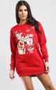 Matilda Waving Christmas Santa & Reindeer Print Sweatshirt Mini Dress In Red by Oops Fashion