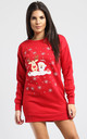 Gracie Christmas Reindeer & Santa On Wall Print Sweatshirt Mini Dress In Red by Oops Fashion