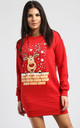 Matilda Christmas Reindeer On Wall Print Sweatshirt Mini Dress In Red by Oops Fashion