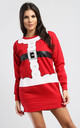 Matilda Christmas Santa Costume Sweatshirt Mini Dress In Red by Oops Fashion