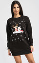 Gracie Christmas Reindeer & Santa On Wall Print Sweatshirt Mini Dress In Black by Oops Fashion