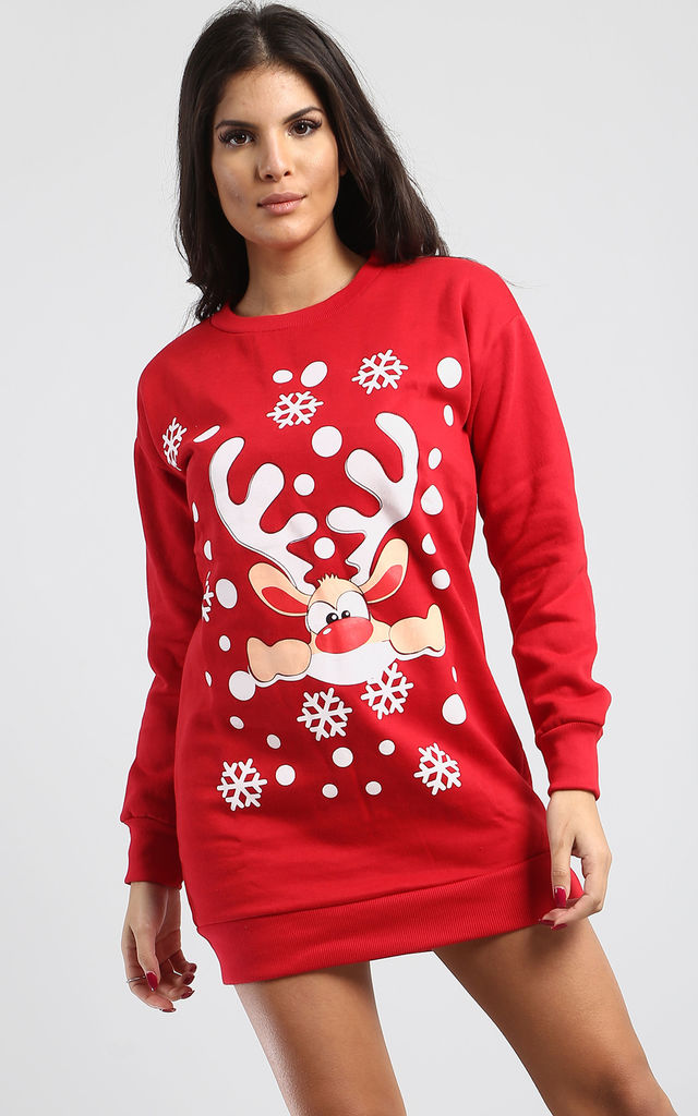 Gracie Christmas Big Nose Reindeer Print Sweatshirt Mini Dress In Red by Oops Fashion