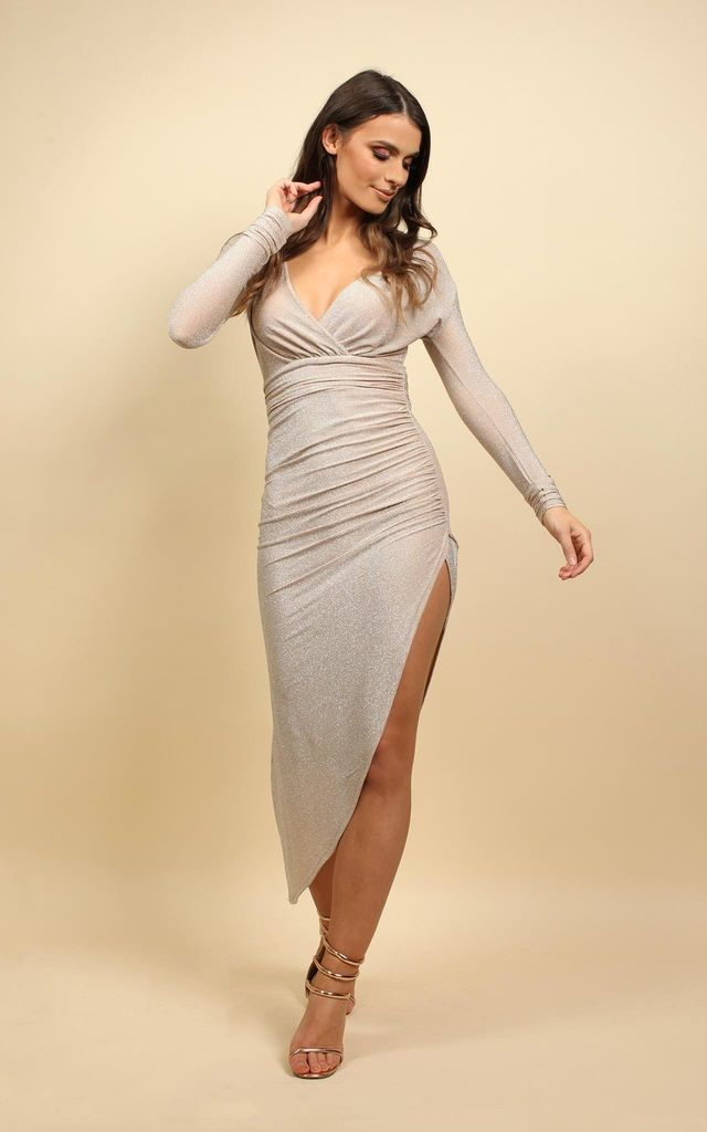 Wrap Maxi Dress With Gathered Waist in Stone by MISSI LONDON