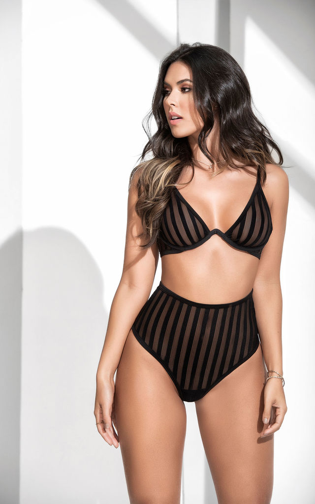 Black Lingerie Two Piece With Striped Mesh by MAPALE