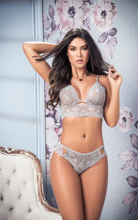 Lacey Grey Two Piece Lingerie Set by MAPALE