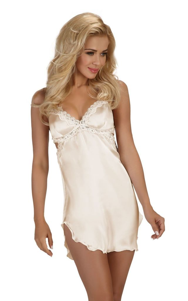 Ivory Satin Nightdress by BB Lingerie