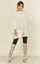 Leaf Weave Loungewear Jumper with Long Sleeves in Cream by URBAN TOUCH