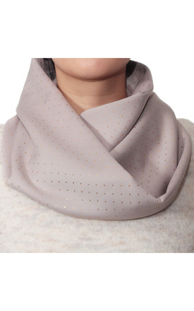 Gold Dotted Grey Jersey Snood Scarf by Isabel Wong Product photo