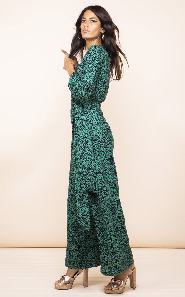 Mossie Jumpsuit in Small Green Leopard by Dancing Leopard