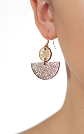 Pink Gold Circle Moon Stack Earrings by Isabel Wong Product photo