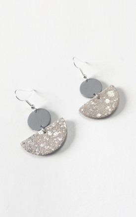 Silver Grey Circle Moon Stack Earrings by Isabel Wong Product photo