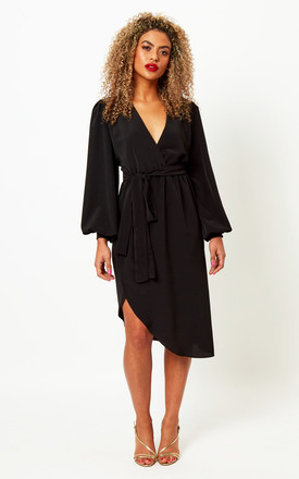 Black Dress with Long Balloon Sleeves by Silver Birch