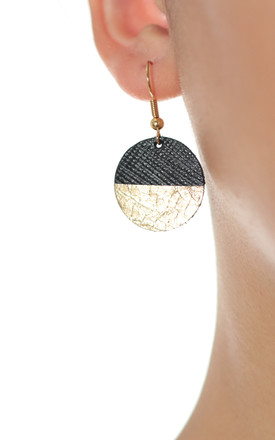 Gold & Black Circle Bauble Earrings by Isabel Wong Product photo