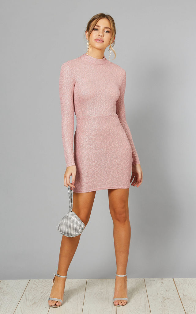 ALYS Pink High Neck Bodycon Dress with Tie Back by Blue Vanilla