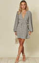 Exclusive Long Sleeve Skater Wrap Dress with Puff Sleeve in Heart Print by Glamorous
